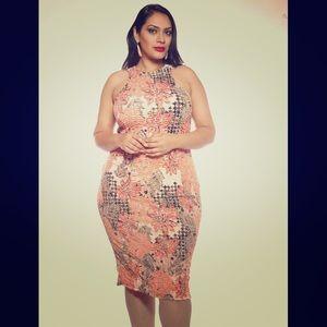 Madeline K Couture Body Con Plus Size Orange/Multi